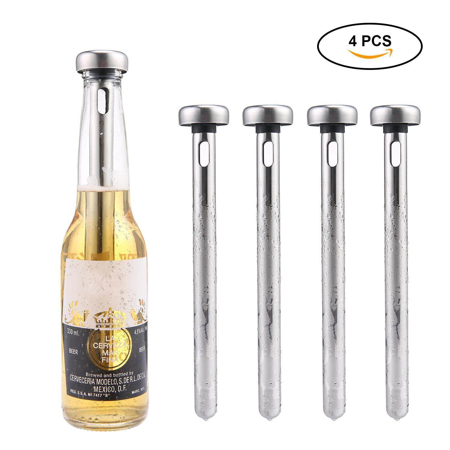 Goodgreat Beer Cooler,beer Chiller Stick Stainless Steel Wine Cooler Beer Drink Colder & Longer Wine Accessories For Watch The World Cup/party Perfect Gift(4 Pcs) By Good&great.