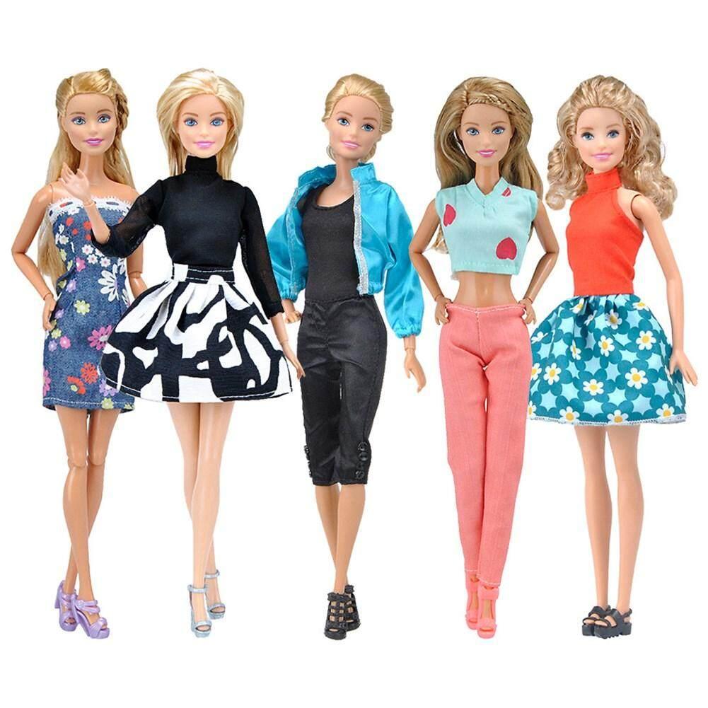 392edde4b33 Wonderful Toy 5pcs Handmade Casual Style Bobbi Doll Clothes Set Short/Long  Dress for Barbie