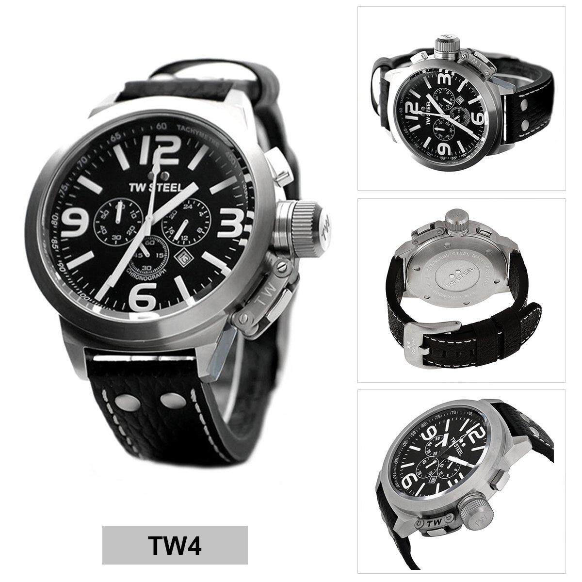 66f6007f6f3 TW Steel Canteen Black Stainless-Steel Case Leather Strap Mens TW4
