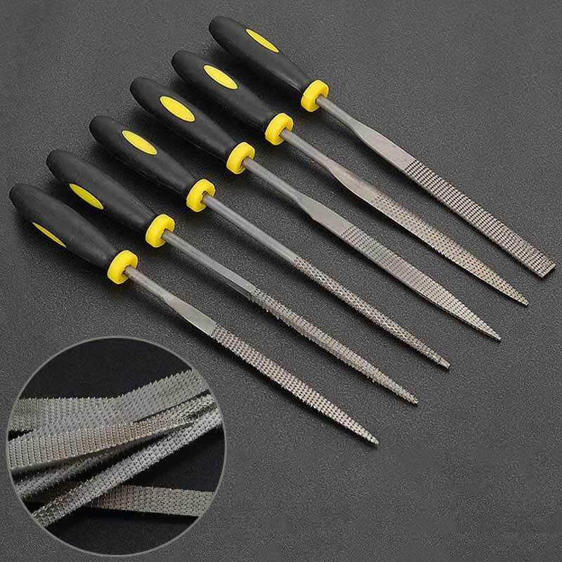 B-F 6Pcs Carbon Steel Square Round Flat Needle Files Jewelers Diamond Wood Carving Craft Tool (4*160mm)(Black)��available��