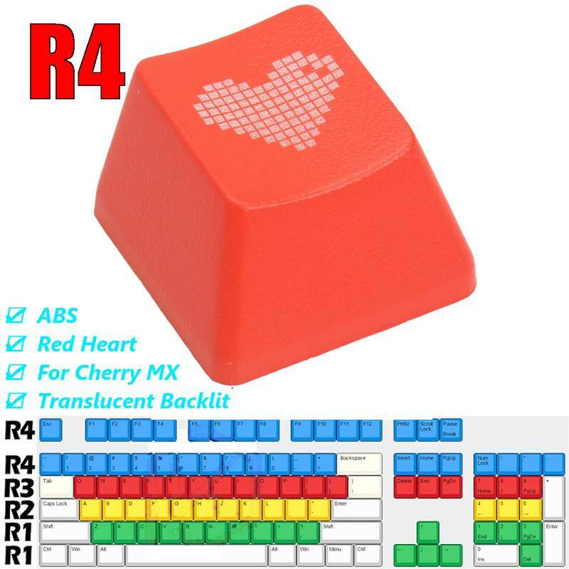 ABS Red Heart Keycap Translucent Backlit Keycaps for Cherry Mechanical Keyboard Malaysia