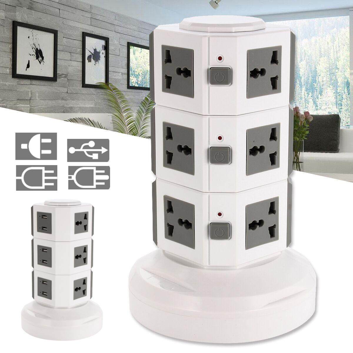 Vertical Power Socket Powerboard Outlet Plug 9 Ways Extension 6 USB Jack Charger # UK