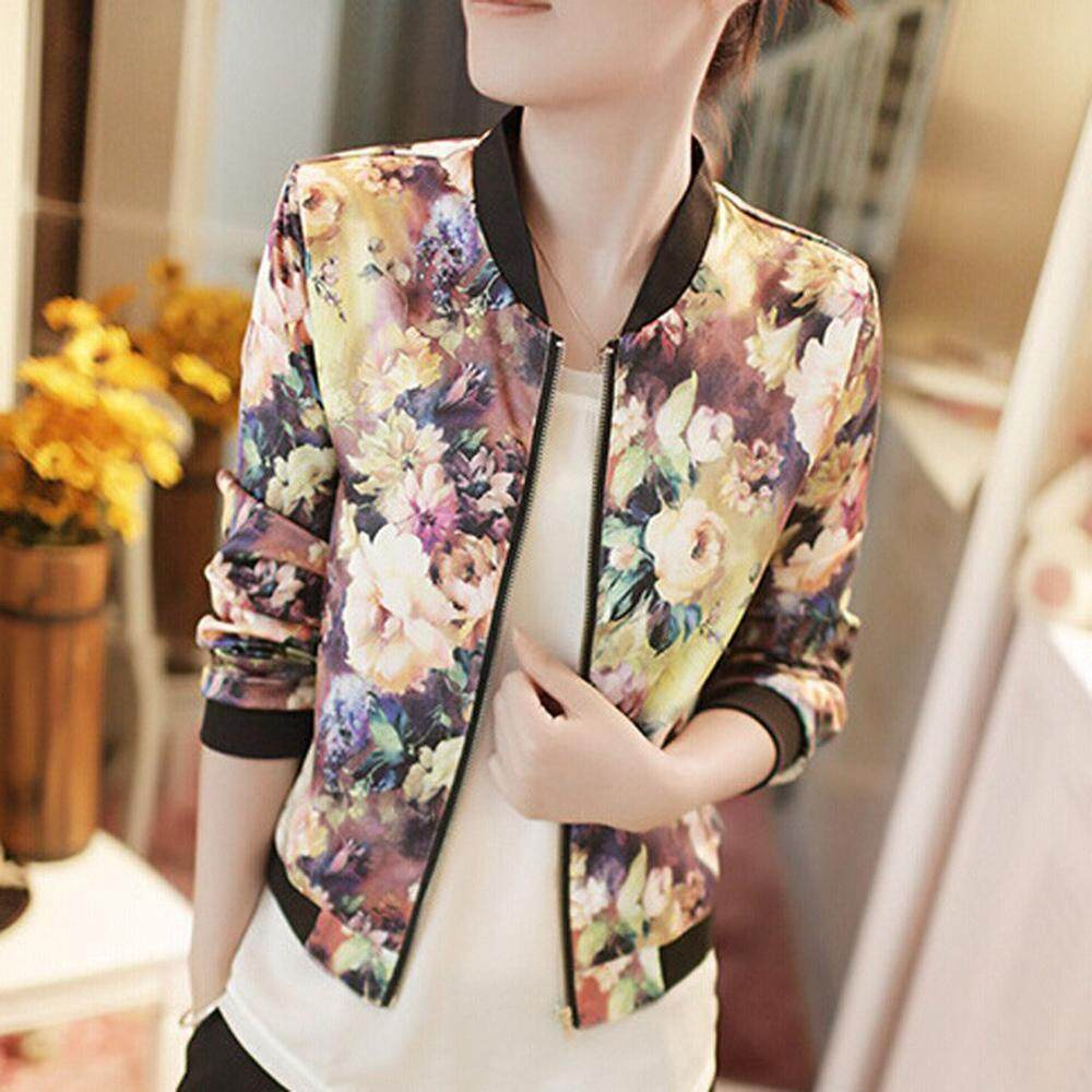 Women Floral Flower Print Bomber Jacket Long Sleeve Zip Ladies Coat Top By Best Land.