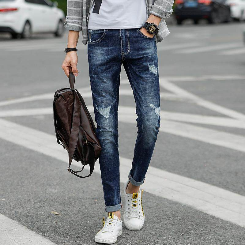4964e9380 Autumn and Winter Men's Jeans New Fashion Men Casual Jeans Slim Straight  High Elasticity Middle Waist
