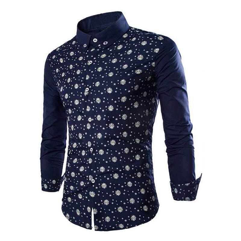 47700ea58 Mens Shirts Stars Skeleton Head Pattern Long Sleeve Casual Slim Fit Stylish  Mens Dress Shirts Dark