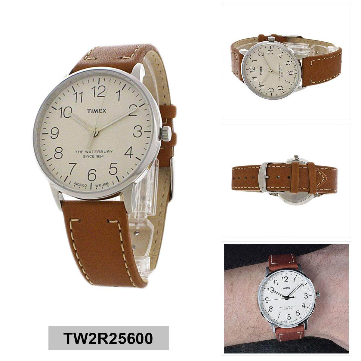 00f983194661 Timex Waterbury Classic Brown Stainless-Steel Case Leather Strap Mens  TW2R25600