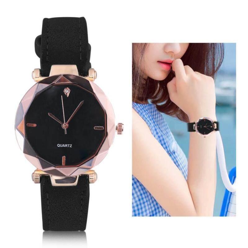 4Colors Female Analog Round Quartz PU Strap Watch Wristwatch with Rhinestone Decoration Malaysia