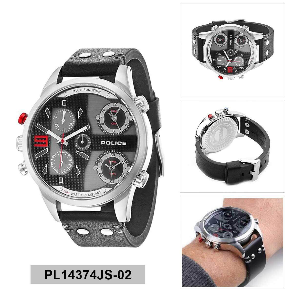 Police Copperhead Brown Stainless-Steel Case Leather Strap Mens PL14374JS-02 9b796c8ac9
