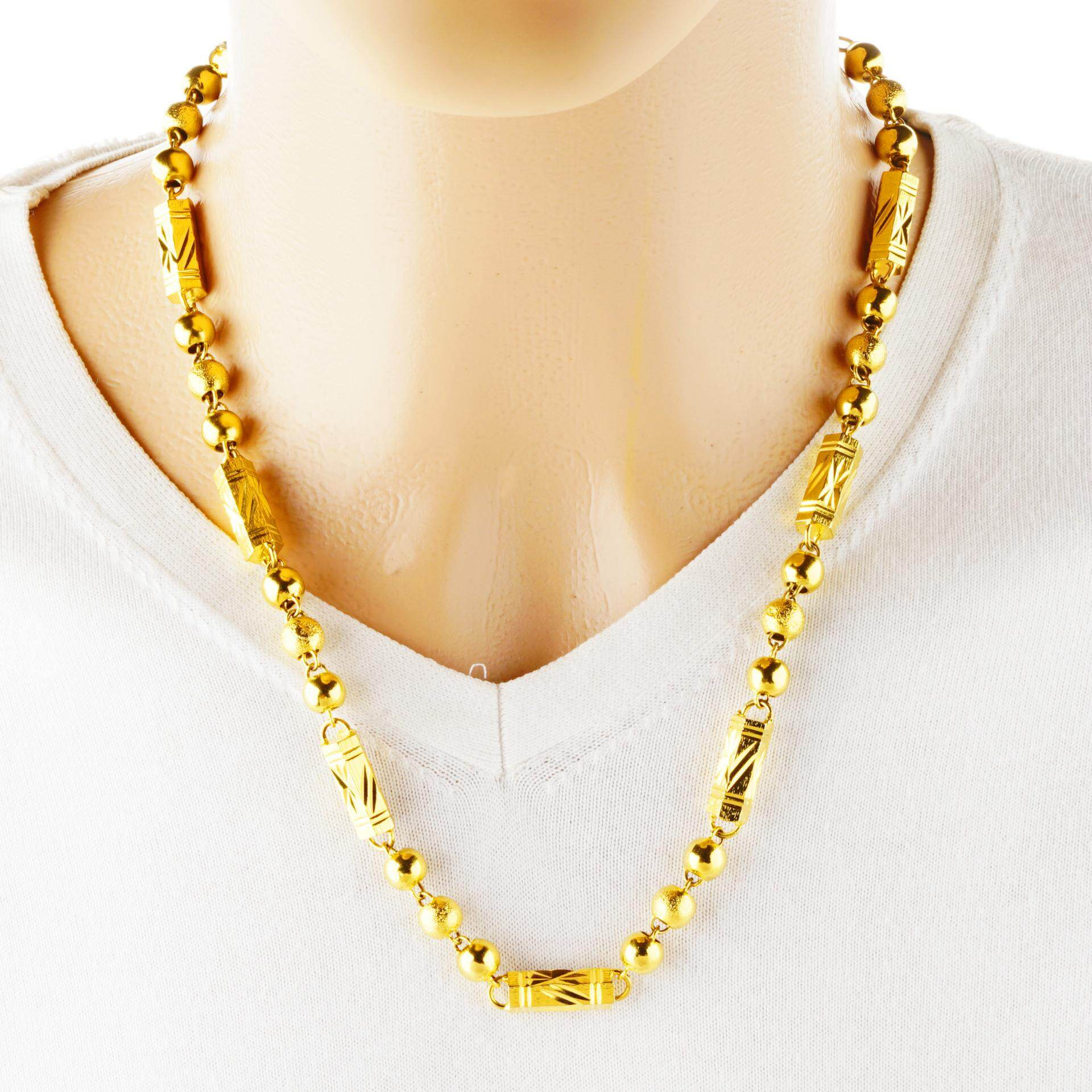 2724964512c74 Europe And America Exaggeration Hexagon Buddhist Prayer Bead Solid Necklace  Male Gold Plated Men Hexagon Prism Bamboo Joint Necklace Alluvial Gold