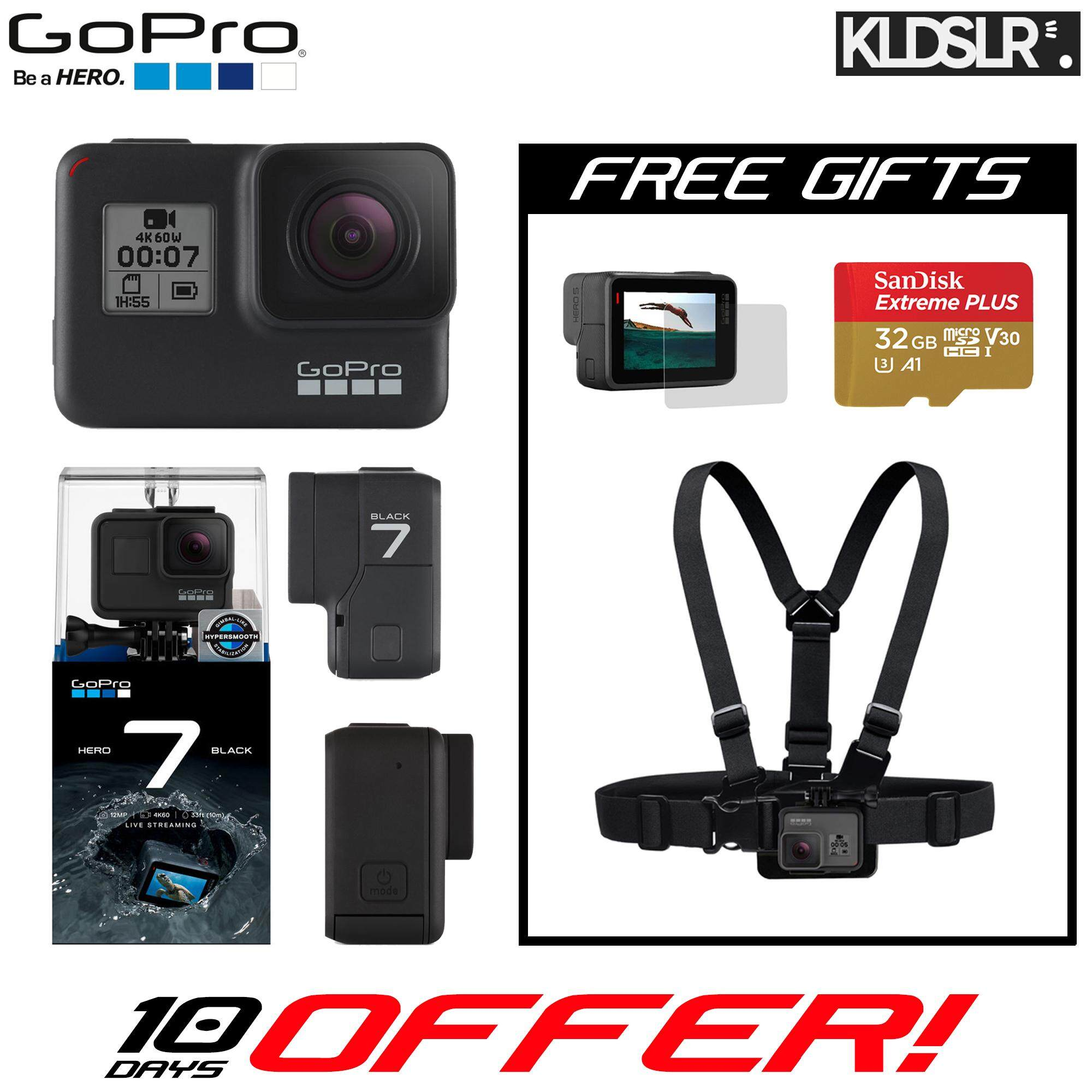 GoPro HERO 7 Black (Free 32GB microSD Card + Chest Strap + Screen Protector) (GoPro Malaysia) (Ready Stock)