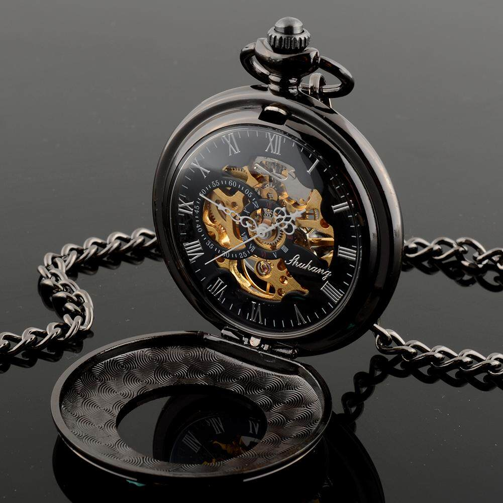 Mens Hollow Steampunk Skeleton Mechanical Analog Quartz Pocket Watch Gift^ Malaysia