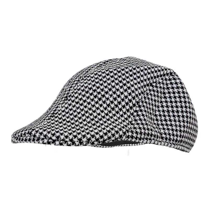 Mens Tweed Wool Herringbone Flat Cap Peak Hat with Quilted Lining - Black    White a5e7cf4b32ab