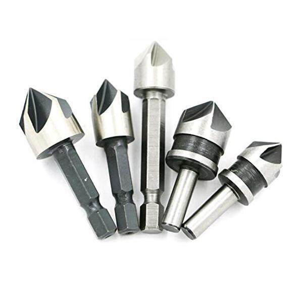 5pc Industrial 5 Flutes Countersink Drill Bit Set Wood 45 Steel Working Chamfer