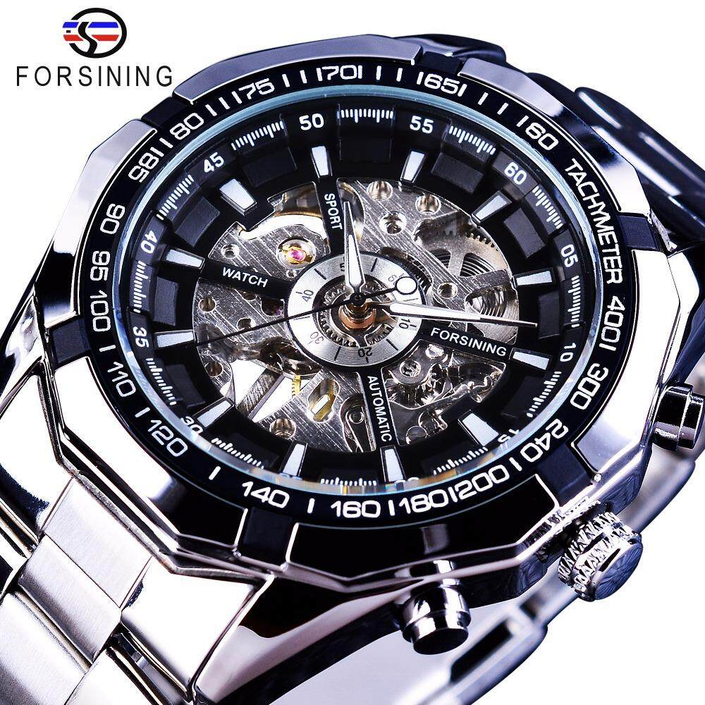 Forsining Men Hollow Automatic Mechanical Watch Business Luxury Stainless Steel Case Stainless Steel Strap Waterproof Luminous Male Fashion Sport Casual Wristwatch Gift for Boyfriend Teenger Malaysia