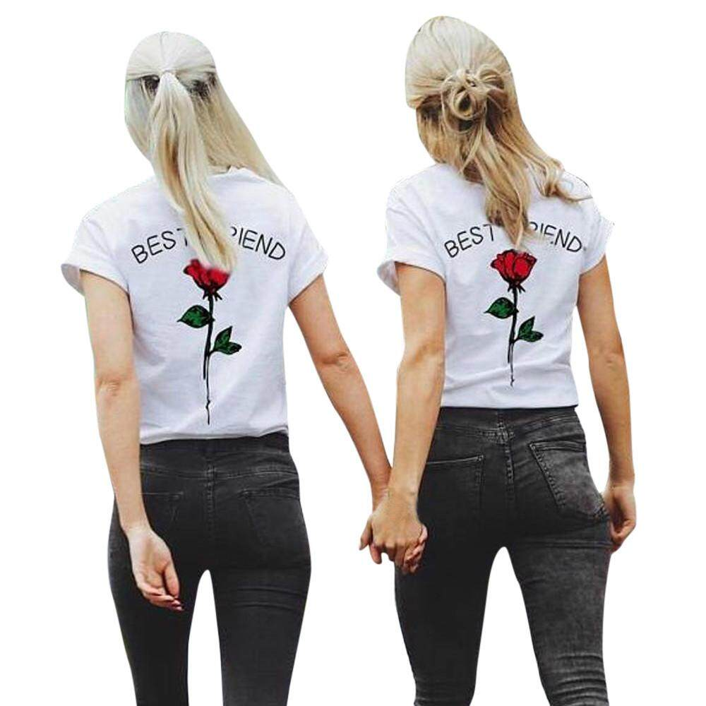 71abd16be6f0 Trend Tops Women Best Friend Letters Rose Printed T Shirts Causal Blouses  Tops