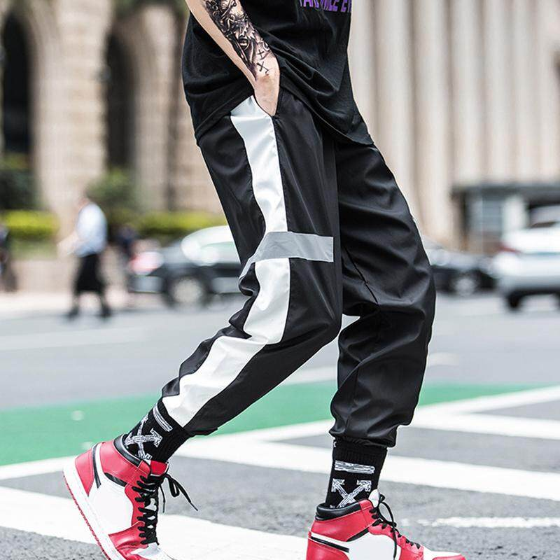 Ishowmall New Arrival Mens Summer Fashion Casual Loose Reflective Long Pants Ankle Banded Pants New By Ishowmall.
