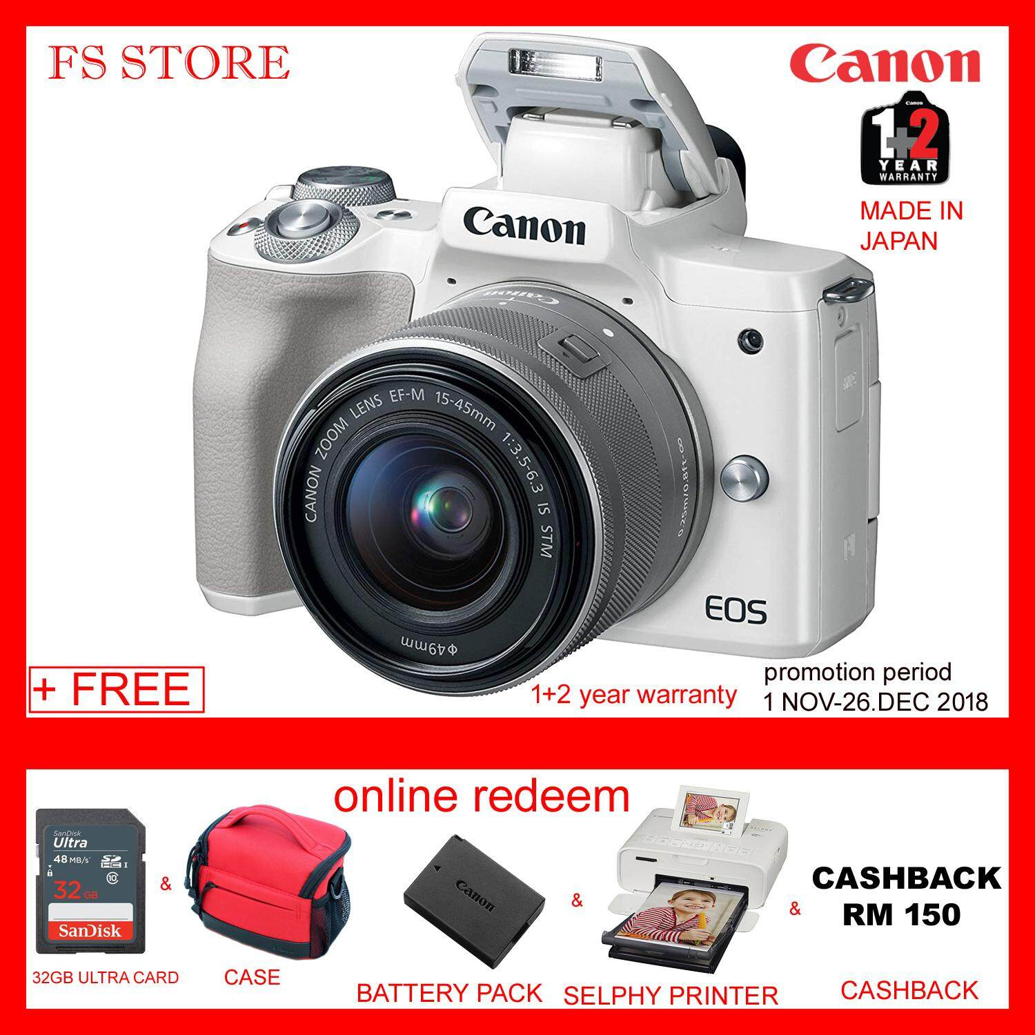 Daftar Harga Canon Eos M3 240mp Digital Camera Black Kit W 18 55mm M10 15 45mm Is Stm Mp Hitam Mirrorless Cameras For The Best Prices In Malaysia