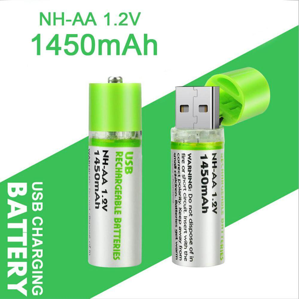 2 Pack USB Rechargeable AA Batteries with Charger NI-MH 1.2V 1450mAh Battery