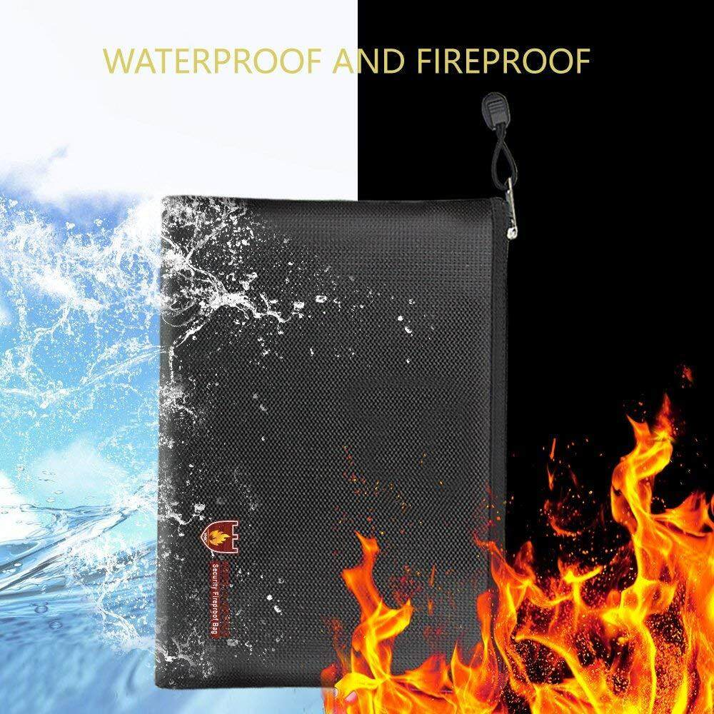 Myositishome Fireproof Document Bag Fire Resistant & Water Resistant Money Bag Safe Storage By Myositishome.