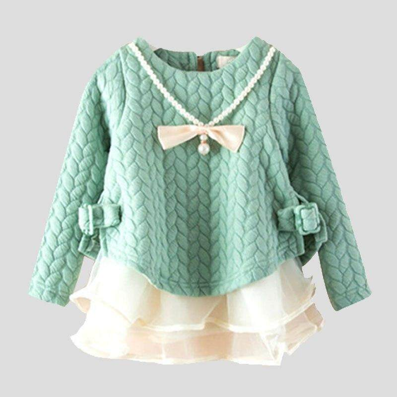 Lanbaoshi New Girl Spring Autumn Sweatshirts Children Fashion Outwear With Pearl Bow Necklace Girl Dress By Lanbaoshi.