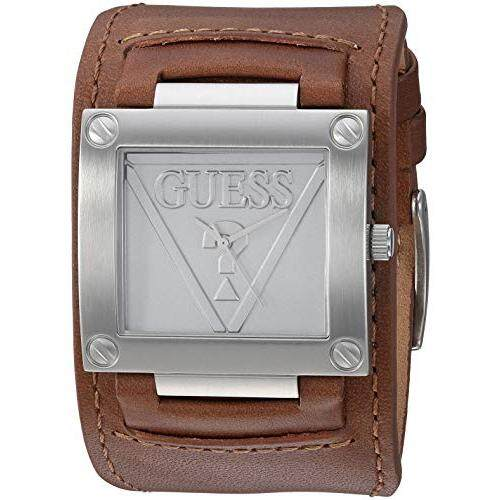 184ef9eca GUESS Guess Men's Quartz Stainless Steel and Leather Casual Watch,  Color:Brown (Model