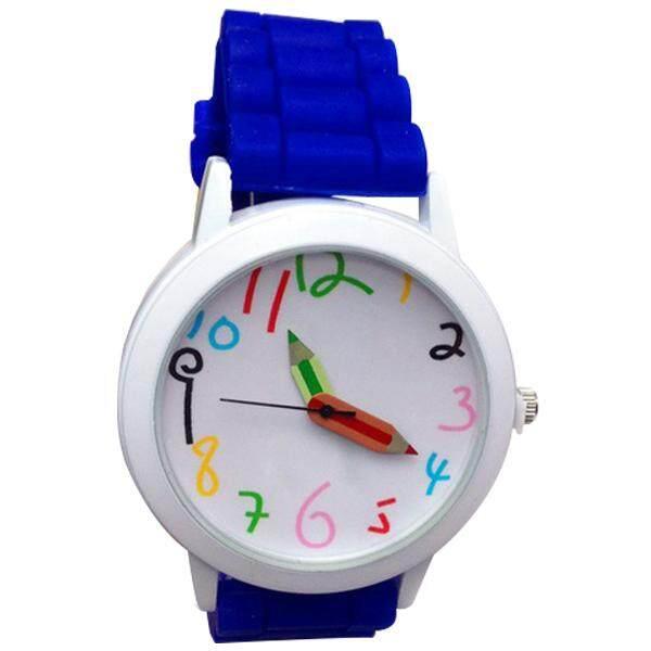 New Unisex Fashion Cute Silicon Band Wristwatch Quartz Watch blue Malaysia