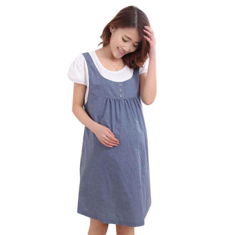 432400435270f Fergusonshop-Summer Maternity Dress Clothes For Pregnant Pregnancy Denim  Clothing BU/XL