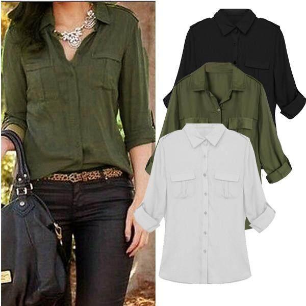 020ed86e66064 Zanzea Spring Autumn Women Blouse Turn-down Collar Long Sleeve Casual  Pockets Chiffon Shirt See