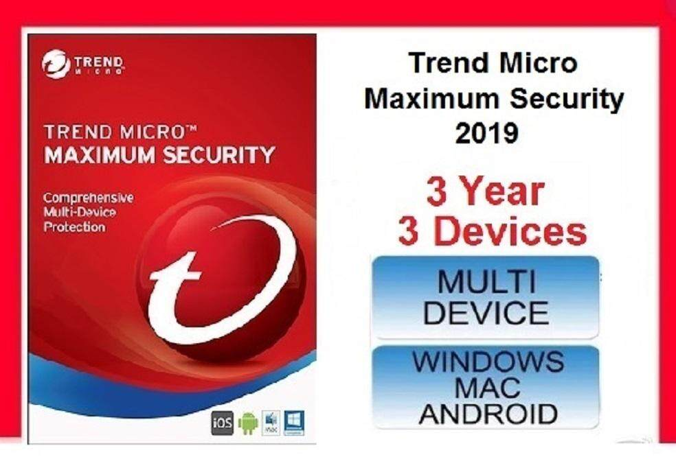 3 Year 5 Device Responsible Trend Micro Maximum Security Antivirus 2019 Brand New
