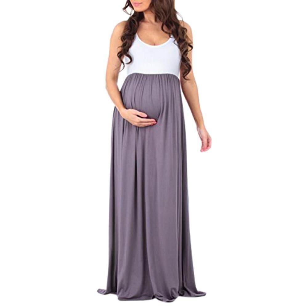 a0920c092dd Foctroes Women s Sleeveless Pregnant Ruched Maxi Maternity Dress Mother  Splice Sundress
