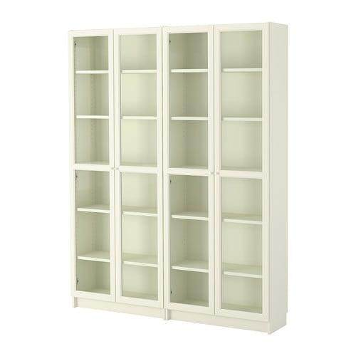 Billy / Oxberg Bookcase White Glass 160x202x30 Cm By Eightynine.