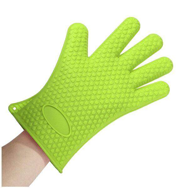 Heat Resistant Silicone Glove Oven Pot Holder BBQ Cooking Glove green