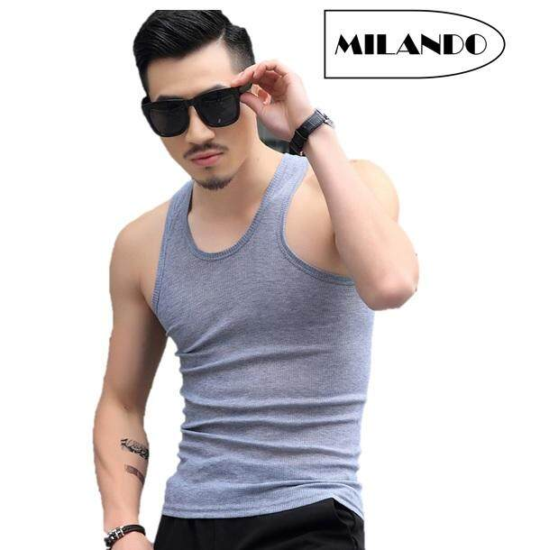Milando Men Singlet High Quality Plain Color Men´s Tank Top Gym Fitness Sleeveless Vest Shirt (type 1) By Milando.