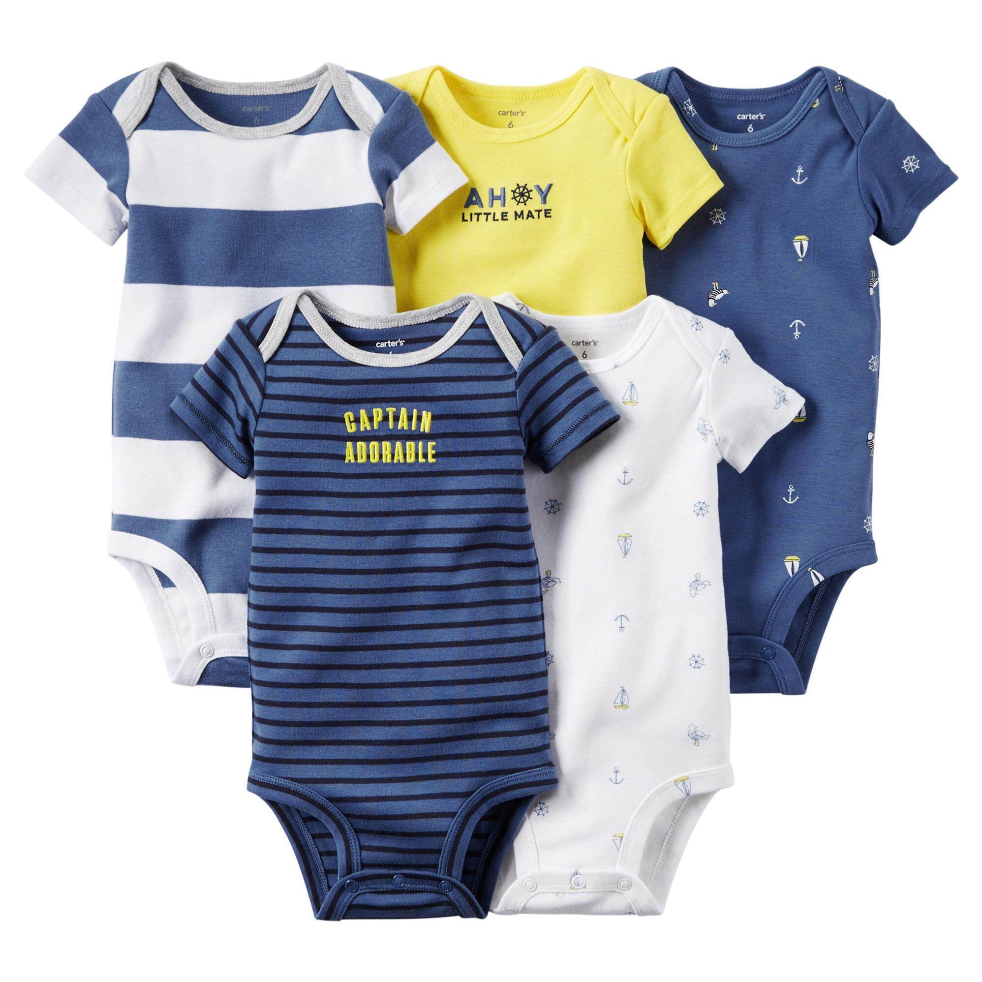 eb360e7a92aa 5 in 1 pack romper baby boy Carters bluefly jumpsuit random design body suit