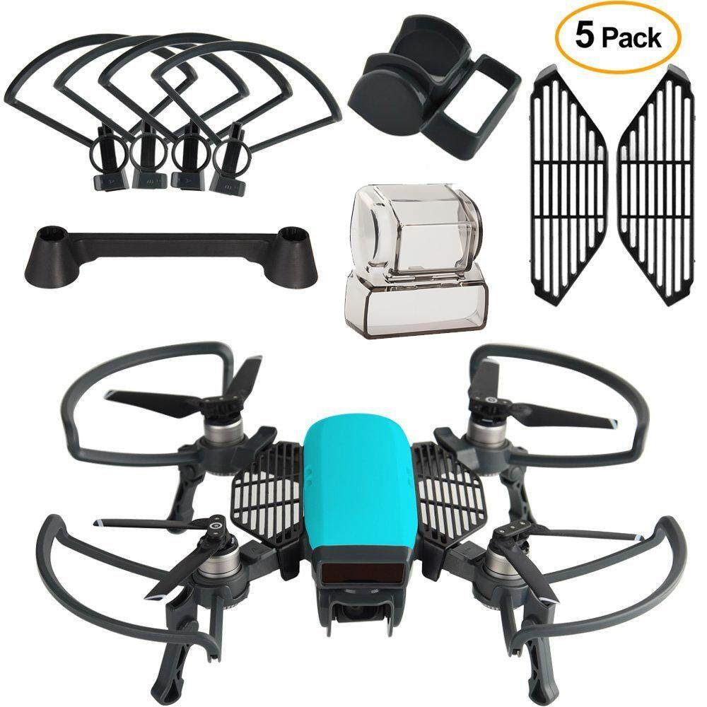 5 In 1 Accessories Kits For Dji Spark Propeller Guard With Foldable Landing Gear, Gimbal Camera Guard, Lens Hood, Finger Guard Board By Sz Aixinda E-Commerce Store.