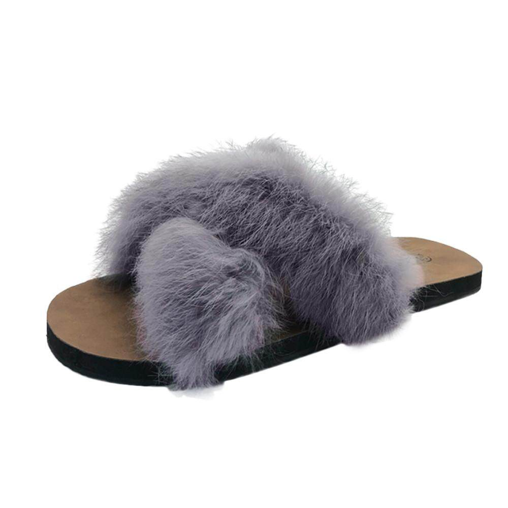 0274cfc9e01 Kohlershop Women Fluffy Faux Fur Indoor Outdoor Flat Heel Sandals Slipper  Casual Shoes