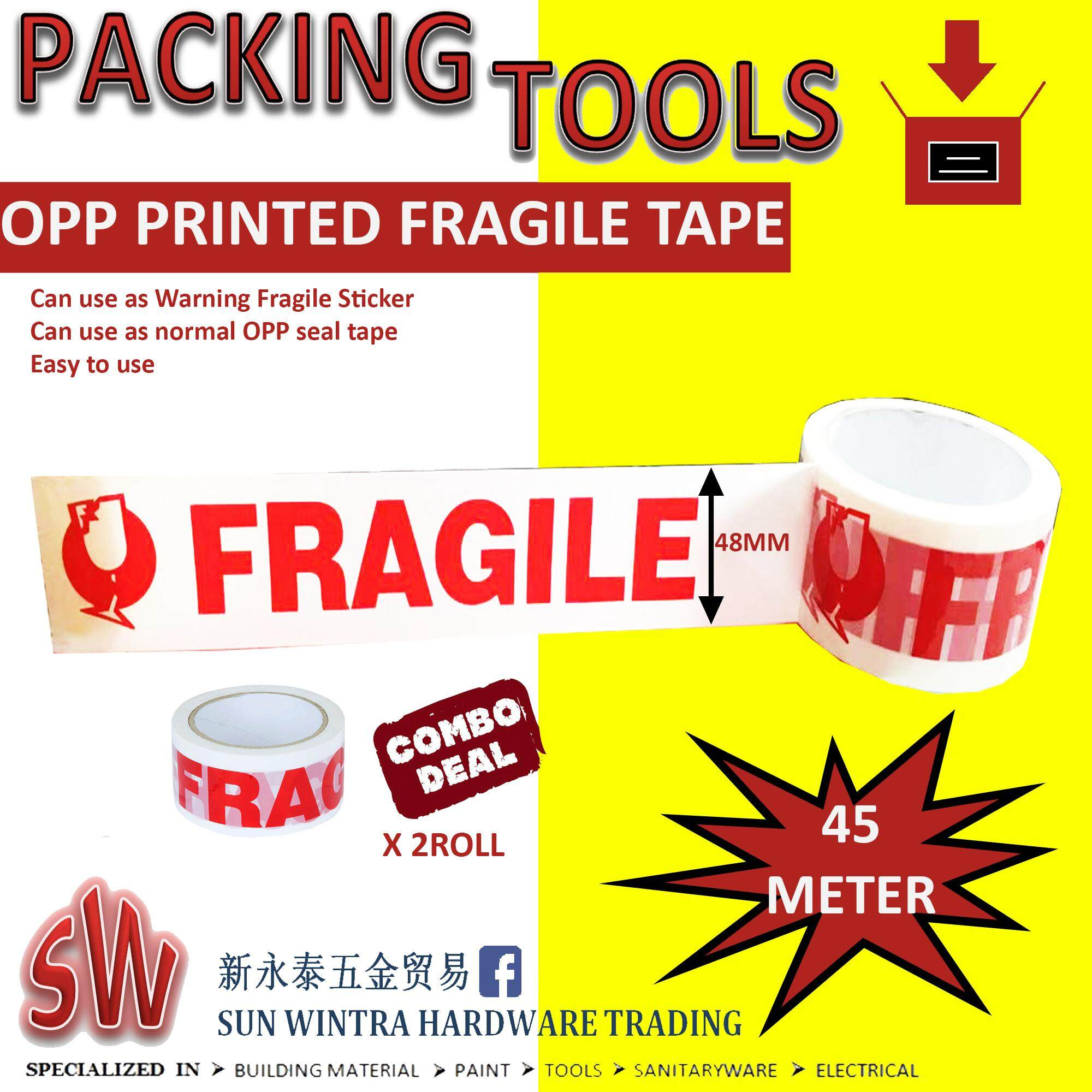 COMBO 2X OPP PRINTED FRAGILE TAPE 48MM X 45METERS