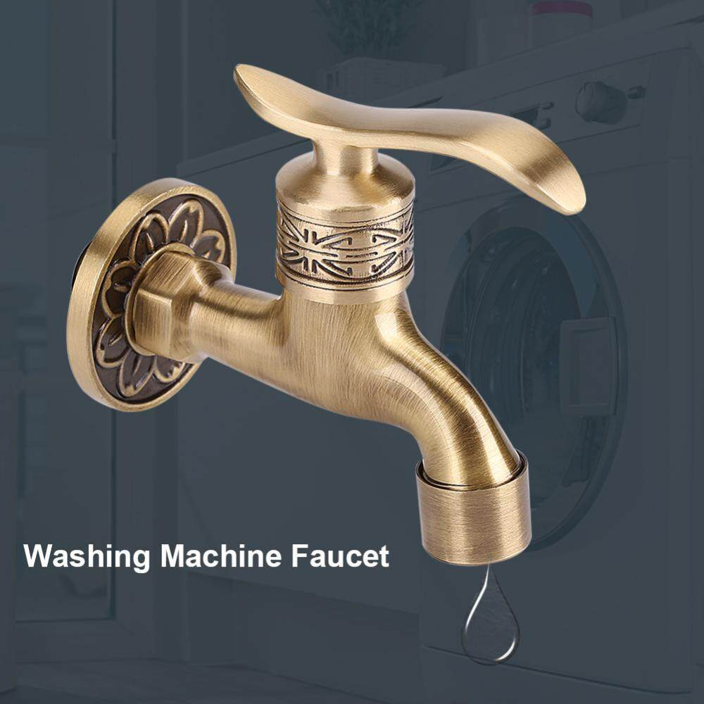 Antique Style Brass Washing Machine Faucet Wall Mount Laundry Cold Water Tap Bathroom Use