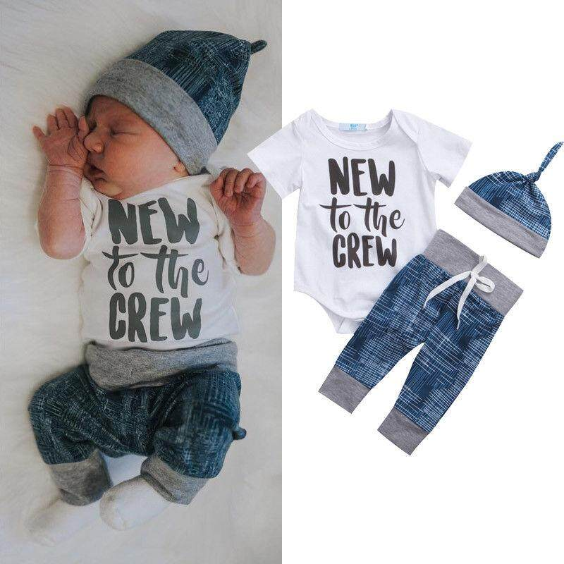 5d357247754 Toddler Kid Baby Boy Girl 3pcs Clothes Jumpsuit Romper Long Pants Hat  Outfit Set