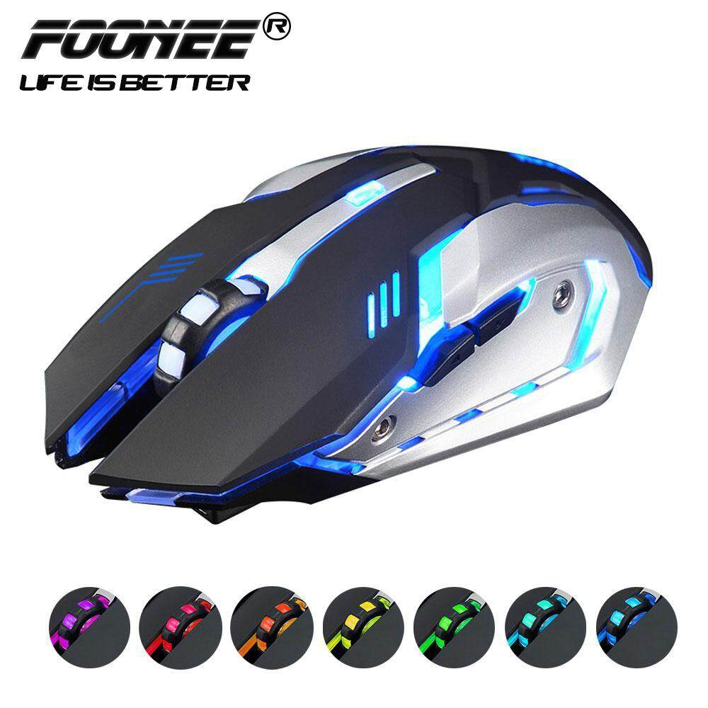 Foonee 2.4GHz 6 Buttons 1600 Dpi Rechargeable Wireless USB LED Backlit Mute Optical Ergonomic Gaming Mouse Malaysia