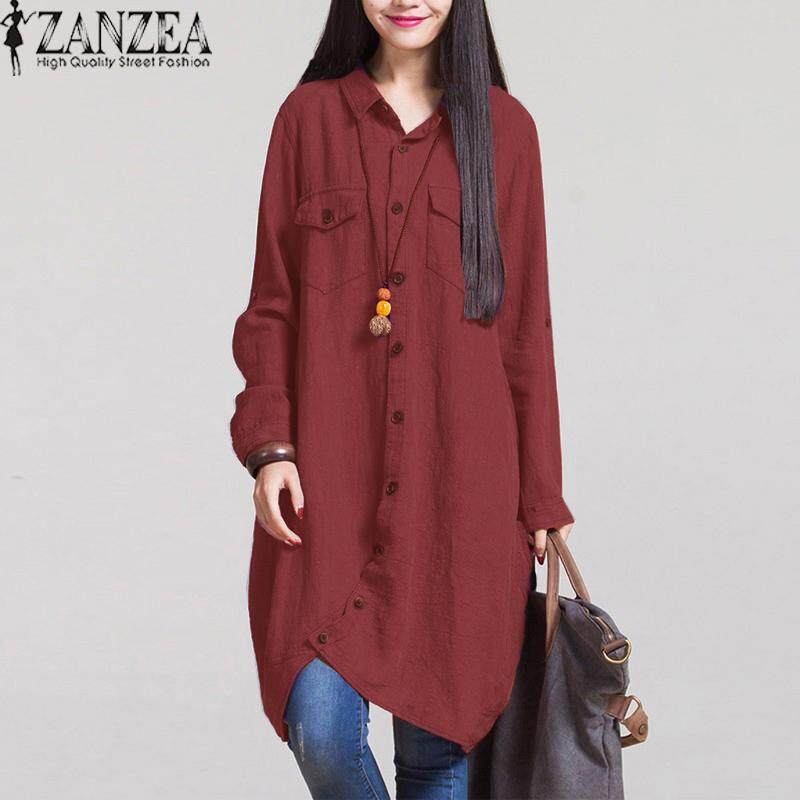 e7eae44fce1 ZANZEA Women Autumn Vintage Lapel Cotton Long Shirts Casual Loose Full Sleeve  Irregular Blouses Tops Plus