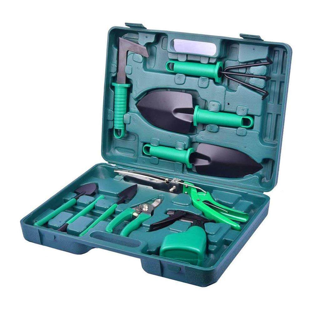 Aolvo 10 PCS Garden Tool Set with Storage Case, Gardening Gifts Gardening Planting Tools Set For Home Gardening Flowers Vegetables Potted Flowers