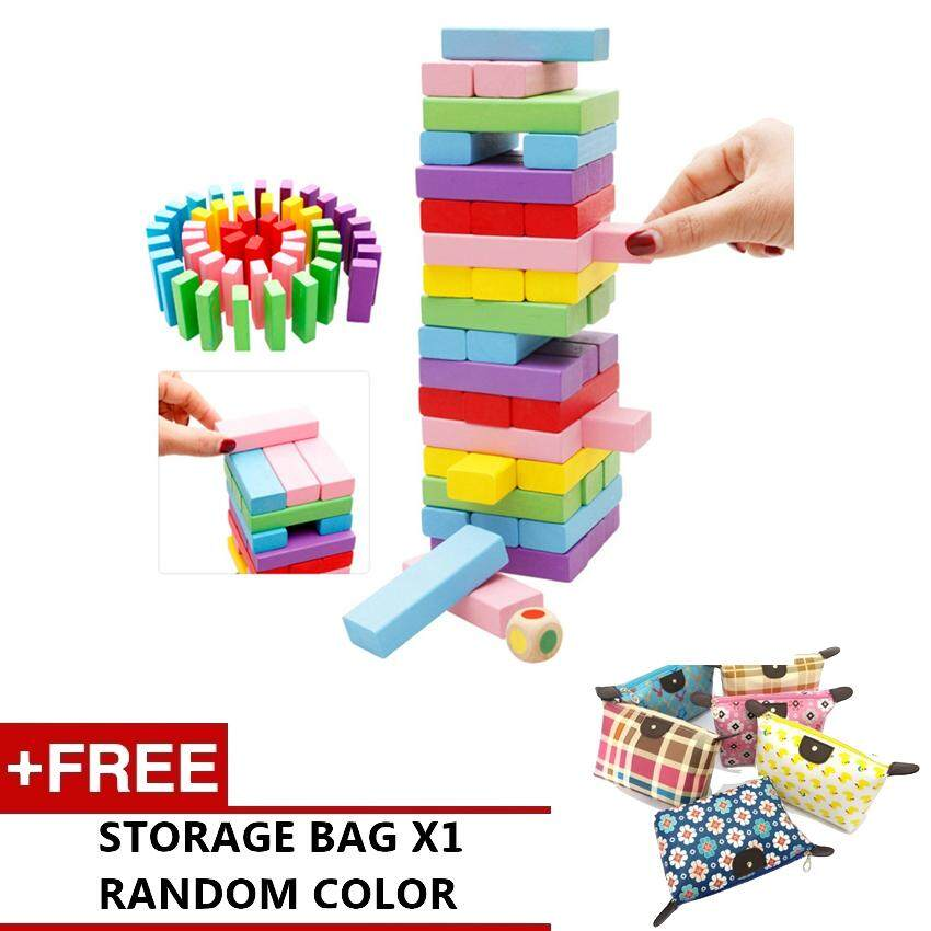 48pcs Stacko Color Blocks Classic Tumble Tower Wood Game By Express D.