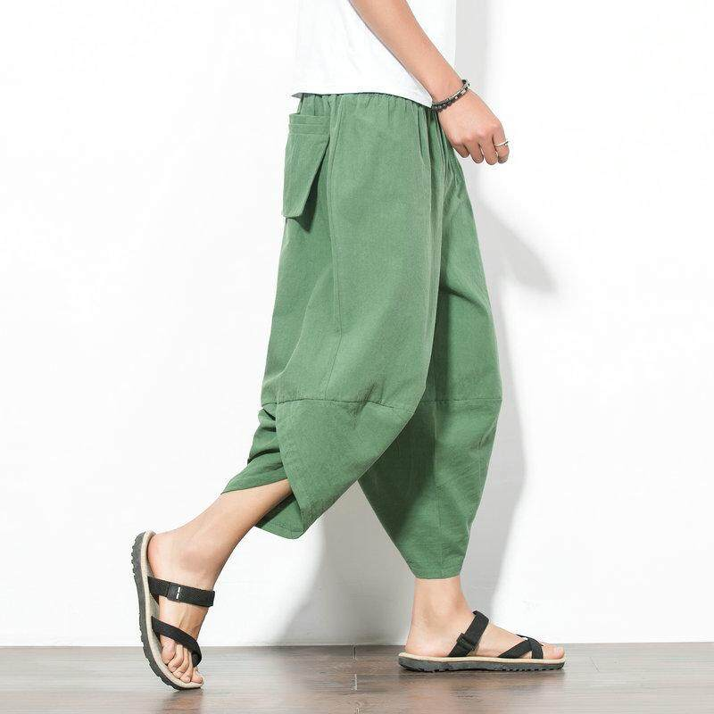 Large Plus Size Japanese Style Men Casual Cotton Harem Pants Solid Color Baggy Loose Fit Wide