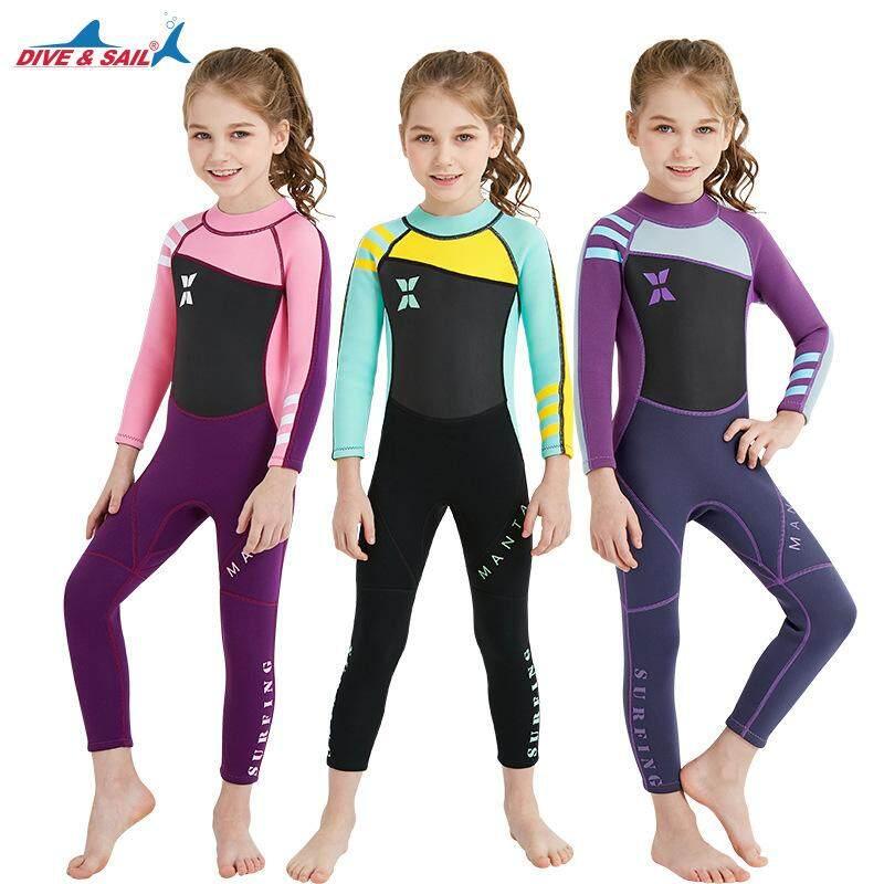 8e411f477b5 Neoprene Long Sleeve Wetsuit Kids Boy Girl Diving Suit Children Swimsuit  Wet Suit Rashguard Swim Snorkeling
