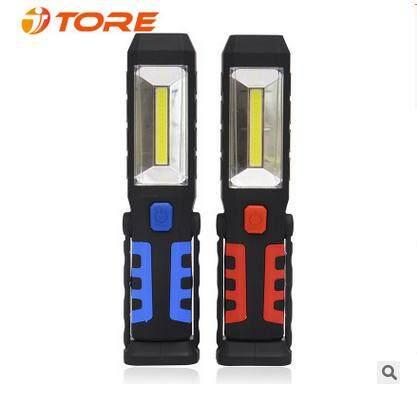 USB Rechargeable COB LED Work Light Emergency Flashlight Magnetic Base + Adjustable Hook