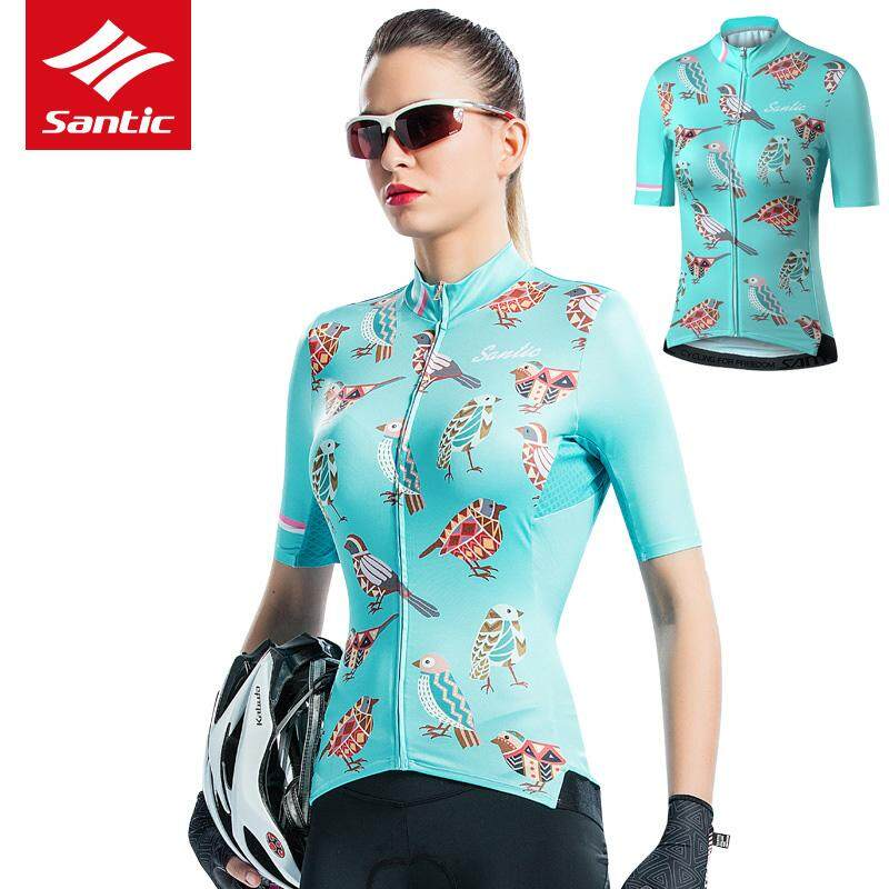 Santic Women Spring Summer Bird Design Short Sleeves Cycling Jersey  Windproof Jacket Breathable Shorts Sleeves Cycling d67981a69