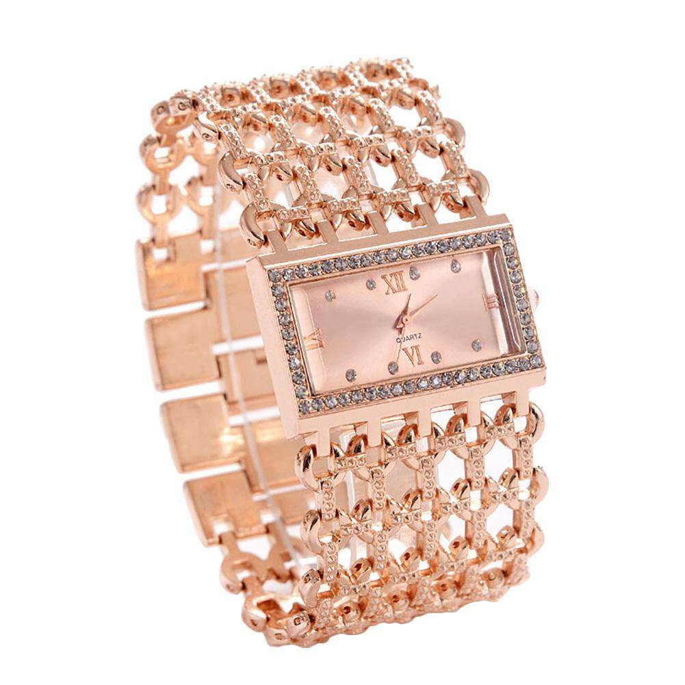 HiQueen REALY Womens Quartz Diamond Case Alloy Bracelet Square Watch with Super Thin Hollow Strap Malaysia