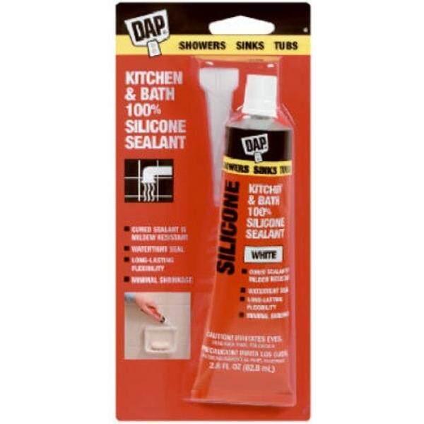 Dap 00680 Bathtub Silicone Rubber Caulk 2.8-Ounce, White