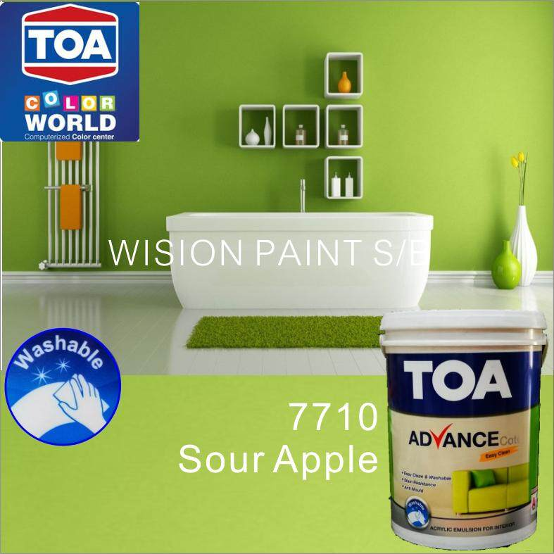 7710 SOUR APPLE (1L) TOA PAINT ADVANCE COTE EASY CLEAN AND ALSO DEALER SALE JOTUN MAJESTIC NIPPON SATIN GLO DULUX PEARL GLO SILK PREMIUM PEARL